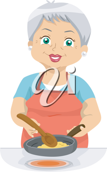 Illustration Featuring an Elderly Woman Cooking