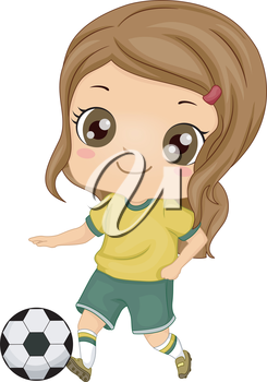 Royalty Free Clipart Image of a Little Girl Playing Soccer
