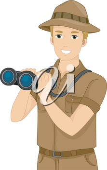 Illustration Featuring a Man Holding a Pair of Binoculars