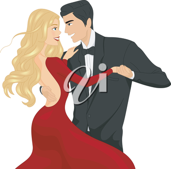 Illustration of a Ballroom Dancer Couple Locking Eyes While Dancing