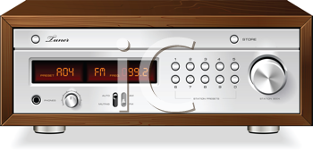 Royalty Free Clipart Image of a Vintage Stereo Radio Receiver
