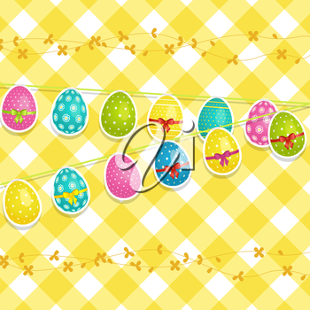 Easter background with decorated eggs hanging from string on a yellow gingham