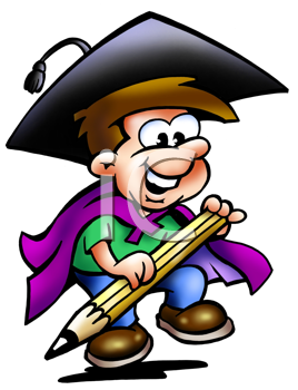 Royalty Free Clipart Image of a Graduate With a Pencil