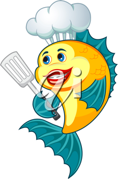 Cartoon cook fish with dishware for cooking concept