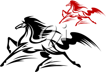 Fast running stallion for tattoo or equestrian sports design