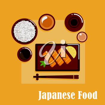 Japanese cuisine dinner menu icons with salmon sashimi, served by lemon and wasabi pasta, wide bowl with rice, dipping sauces, ceramic sake set and chopsticks on a rest