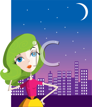 Royalty Free Clipart Image of a Woman in Front of a City Skyline