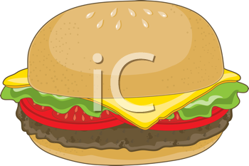 Royalty Free Clipart Image of a Cheeseburger
