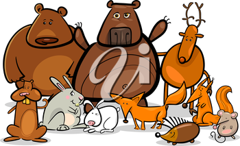 Cartoon Illustration of Funny Forest Wild Animals like Bears, Hedgehog, Deer, Hare and Fox