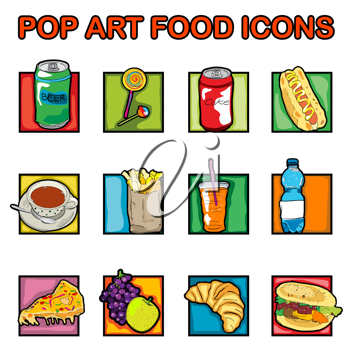 Royalty Free Clipart Image of Pop-Art Food Icons