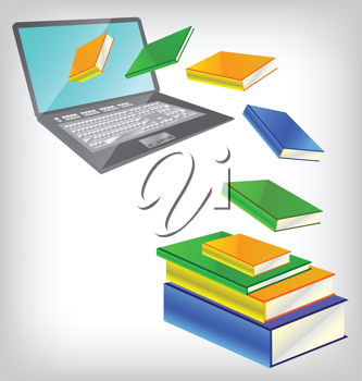 Royalty Free Clipart Image of a Computer and Books