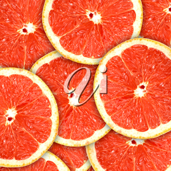 Abstract red background with citrus-fruit of grapefruit slices. Close-up. Studio photography.