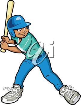 Royalty Free Clipart Image of a Young Boy at Bat