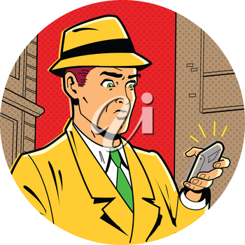 Royalty Free Clipart Image of a Retro Man With a Cellphone