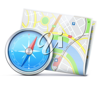 Vector illustration of travel concept with detailed blue compass and city map