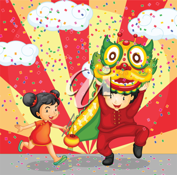 Illustration of a chinese girl and boy