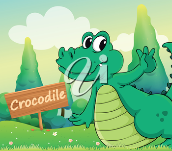 Illustration of a crocodile beside a wooden signboard