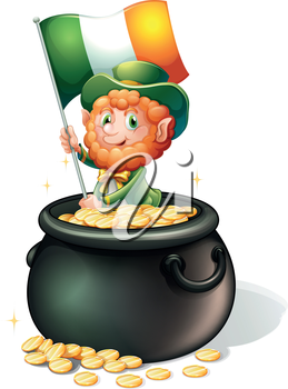 Illustration of a man inside a pot of gold holding a flag on a white background