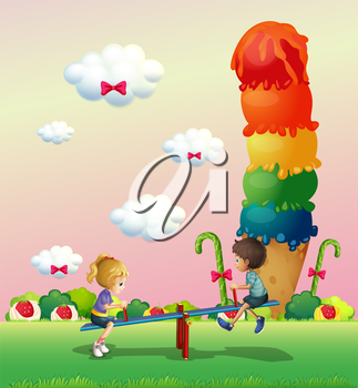 Illustration of a boy and a girl playing at the park with sweets