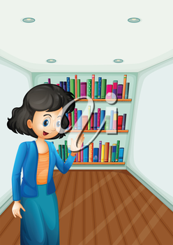 Illustration of a teacher presenting the books in the bookshelves