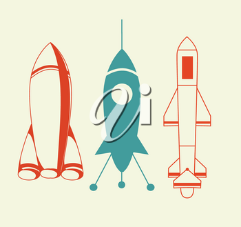 Royalty Free Clipart Image of Rockets