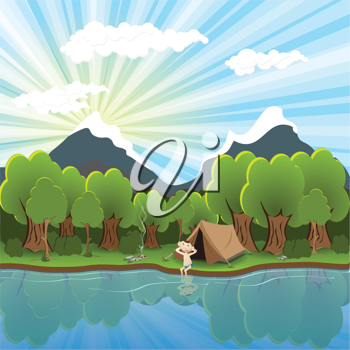 Royalty Free Clipart Image of a Tourist by a River