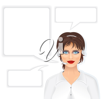 Royalty Free Clipart Image of a Call Center Woman