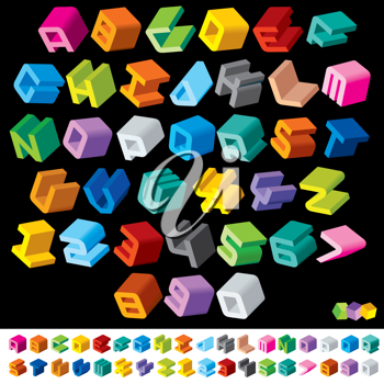 3D Multicolor Isometric Letters and Numbers. Vector Design Font