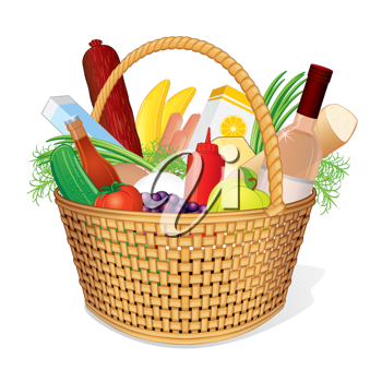 Vector Basket with Food. Picnic Hamper with Wine, Bread, Cheese, Juice, Fruits and Vegetables