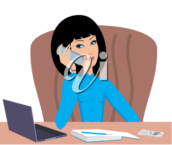 Royalty Free Clipart Image of a Woman Talking on the Phone