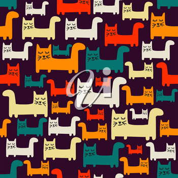 seamless pattern with cats, vector format