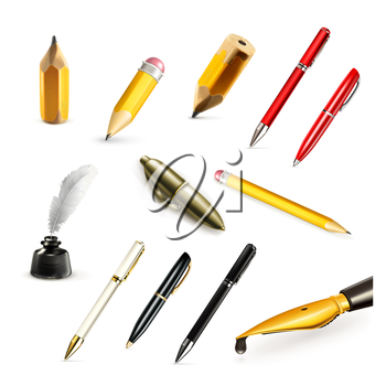 Pens and pencils, set vector icons
