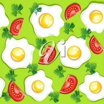 Seamless breakfast pattern with fried eggs and tomatoes