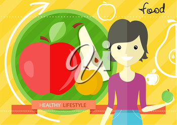 Healthy lifestyle concept with green and red paper apple form in flat design. Woman with apple in her hand