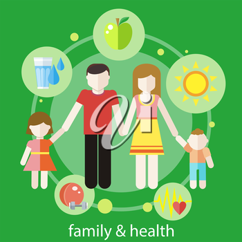 Set of healthy icons in flat design around famile. Healthy family concept