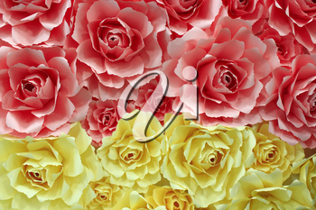 beautiful flowers of roses made from paper