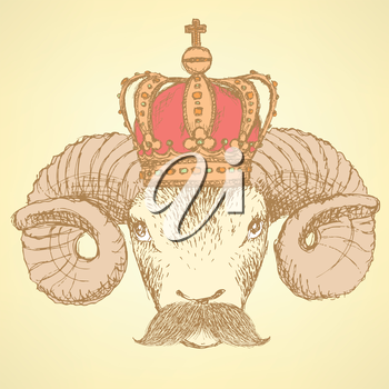 Sketch ram in crown with mustache, background