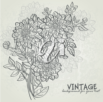 Royalty Free Clipart Image of a Vintage Flower Background