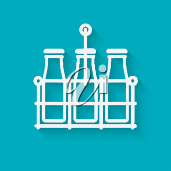 milk bottles in basket on blue background. vector illustration - eps 10