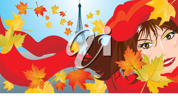 Cute woman face with red scarf and beret and maple leafs and eiffel on background - autumn paris landscape picture