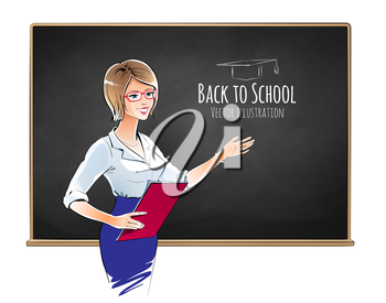 Illustration of school teacher standing next to blackboard. Vector EPS 10.