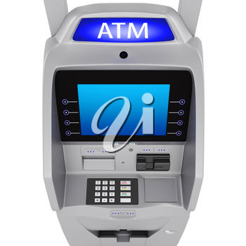 Large display in the banking terminal. The dial keypad modern ATM on a white background