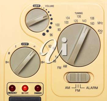 Beige control panel of radio, closeup picture